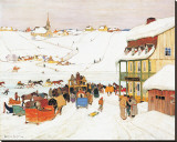 Horse Race in Winter Stretched Canvas Print by Clarence Alphonse Gagnon