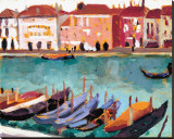Gondoles a Venise Stretched Canvas Print by James Wilson Morrice