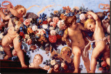 Cherubs with Garland of Flowers Stretched Canvas Print by Carlo Maratti