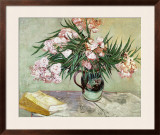 Vase with Oleanders and Books, c.1888 Framed Giclee Print by Vincent van Gogh