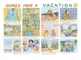 Multiple panels show scenes from a vacation in Nevada, Utah, and Colorado. - New Yorker Cartoon Premium Giclee Print by Roz Chast