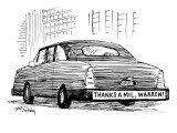 "Bumper sticker on car reads: ""Thanks a mil, Warren!"" - New Yorker Cartoon Premium Giclee Print by Mike Twohy"