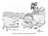 """Can't you crunch bones with your mouth closed?"" - New Yorker Cartoon Premium Giclee Print by Leo Cullum"