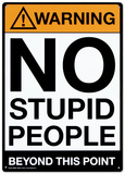 Warning No Stupid People Plaque en métal