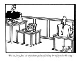 """""""We, the jury, find the defendant guilty of killing her softly with his so…"""" - New Yorker Cartoon Premium Giclee Print by Bruce Eric Kaplan"""