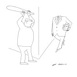 A thief holds a bat ready to hit a man over the head but the man coming ar… - New Yorker Cartoon Premium Giclee Print by Ed Arno