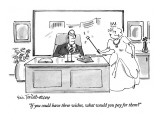 """""""If you could have three wishes, what would you pay for them?"""" - New Yorker Cartoon Premium Giclee Print by Eric Teitelbaum"""
