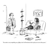 """You make a very compelling case, Jeffrey, but I still maintain that my da…"" - New Yorker Cartoon Premium Giclee Print by David Sipress"