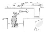 "Mouse in a suit stands in front of a maze. An arrow reads ""Personnel."" - New Yorker Cartoon Premium Giclee Print by Leo Cullum"