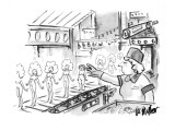 Woman working at a toy factory pulls a dumpy, unattractive doll from the a… - New Yorker Cartoon Premium Giclee Print by Warren Miller