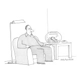 Man sits in easy chair looking glum, while a goldfish sits in similar chai… - New Yorker Cartoon Premium Giclee Print by Mick Stevens
