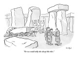 """Or we could tally the sheep like this."" - New Yorker Cartoon Premium Giclee Print by Robert Leighton"