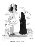 """Oh, well, this is going to be awkward."" - New Yorker Cartoon Premium Giclee Print by Emily Flake"