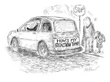 "An old driver has a bumper sticker on the back of his car that says, ""How'…"" - New Yorker Cartoon Premium Giclee Print by Edward Koren"