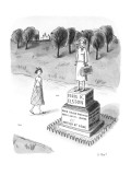 "Woman passing a statue reading, ""Doris K. Elston-Brain Surgeon, Profession…"" - New Yorker Cartoon Premium Giclee Print by Roz Chast"