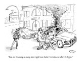 """You are breaking so many laws right now I don't even know where to begin.…"" - New Yorker Cartoon Premium Giclee Print by Farley Katz"