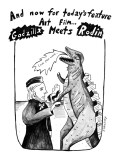 "AND NOW FOR TODAY'S FEATURE ART FILM... GODZILLA MEETS RODIN. Monster shak…"" - New Yorker Cartoon Premium Giclee Print by Stephanie Skalisky"