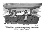 """What a bizarre sensation! I've never gone to Queens before without a cabf…"" - New Yorker Cartoon Premium Giclee Print by Michael Crawford"