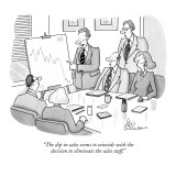 """The dip in sales seems to coincide with the decision to eliminate the sal…"" - New Yorker Cartoon Premium Giclee Print by Leo Cullum"