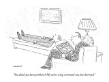 """You think you have problems?  My entire wing command was just destroyed."" - New Yorker Cartoon Premium Giclee Print by Robert Mankoff"