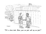 """""""It's a done deal. Have your au pair call my au pair."""" - New Yorker Cartoon Premium Giclee Print by Robert Mankoff"""
