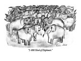 """1-800 Herd of Elephants."" - New Yorker Cartoon Premium Giclee Print by Victoria Roberts"