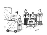 A condemned man is getting a street vendor hot dog as his last meal. - New Yorker Cartoon Premium Giclee Print by Tom Cheney