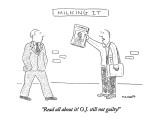 &quot;Read all about it!  O.J. still not guilty!&quot; - New Yorker Cartoon Premium Giclee Print by Robert Mankoff