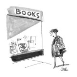 Woman walks by a bookstore and looks into the window at a a book that read… - New Yorker Cartoon Premium Giclee Print by Noel Watson