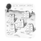 Various headstones in a cemetary showing the death of this popular vegetab… - New Yorker Cartoon Premium Giclee Print by Roz Chast