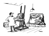 Artist, painting nude woman, uses a computer graphics program instead of c… - New Yorker Cartoon Premium Giclee Print by Frank Modell