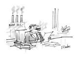 Businessman smoking three cigars while the three chimneys of his factory s… - New Yorker Cartoon Premium Giclee Print by Dana Fradon