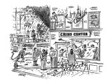 Police & firemen arrive at building where there is a raging fire; people a… - New Yorker Cartoon Premium Giclee Print by Tom Cheney