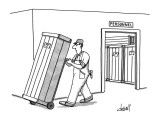 Workman moves crate, on dolly, from room labeled 'Personnel.'  Similar cra… - New Yorker Cartoon Premium Giclee Print by Tom Cheney
