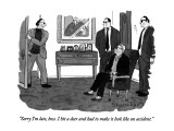 """""""Sorry I'm late, boss.  I hit a deer and had to make it look like an accid…"""" - New Yorker Cartoon Premium Giclee Print by Danny Shanahan"""
