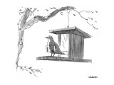 Bird, with menu under its wing, on a bird feeder. - New Yorker Cartoon Premium Giclee Print by James Stevenson