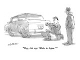 """""""Hey, this says 'Made in Japan.'"""" - New Yorker Cartoon Premium Giclee Print by James Stevenson"""