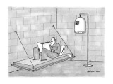 Prisoner reads in his bunk, with pet bird in a prisonlike cage beside him. - New Yorker Cartoon Premium Giclee Print by Mick Stevens