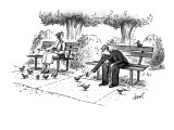 Man feeding cigarettes to pigeons, and lighting them with his lighter. - New Yorker Cartoon Premium Giclee Print by Tom Cheney