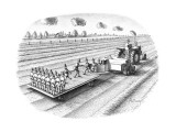 Tactor turning out replicas of the farmer/scarecrow. - New Yorker Cartoon Premium Giclee Print by Anthony Taber