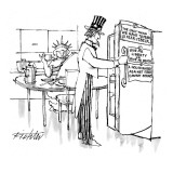 "Uncle Sam and Statue of Liberty in kitchen. Refrigerator has the following…"" - New Yorker Cartoon Premium Giclee Print by Mischa Richter"