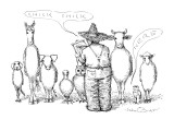 "Farmer with list saying ""Chick Chick"" and small bird saying ""Here"". - New Yorker Cartoon Premium Giclee Print by John O'brien"