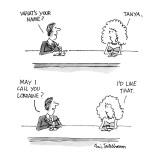 """Man & woman at bar. Man asks: Woman says: """"Tanya."""" Man asks """"May I call yo… - New Yorker Cartoon Premium Giclee Print by Eric Teitelbaum"""