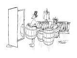 Uncle Sam tries on a barrel in a men's clothing store, as the Statue of Li… - New Yorker Cartoon Premium Giclee Print by Mischa Richter