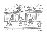 "Town street with shops called pizza and ""Second Amendment Gun Shop"". - New Yorker Cartoon Premium Giclee Print by Dean Vietor"