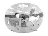 Rabbit with chicken's head and chicken with rabbit's head stare at one ano… - New Yorker Cartoon Premium Giclee Print by Danny Shanahan