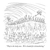 """""""They're the lucky ones. We're headed for telemarketing."""" - New Yorker Cartoon Premium Giclee Print by Nick Downes"""