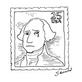 Weeping George Washington on 25 cent stamp. - New Yorker Cartoon Premium Giclee Print by Charles Sauers