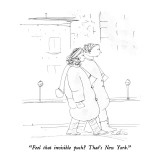 """Feel that invisible push?  That's New York."" - New Yorker Cartoon Premium Giclee Print by Richard Cline"