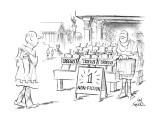 """Ancient Greek street with store and sign """"1 Non-Fiction"""" and many copies o… - New Yorker Cartoon Premium Giclee Print by Ed Fisher"""